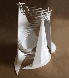 Clara Lieu, RISD Pre-College Design, Design Foundations course, Staircase Sculpture Assignment, foam board, 2017