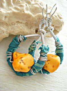 Boho Earrings  Wire Wrapped Earrings  Hippie by HandcraftedYoga, $28.00