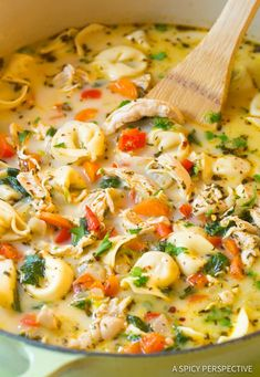 Light and Creamy Chicken Tortellini Soup Recipe. A cozy blend of chicken, vegetables, spice, cheese, and tortellini in a thin creamy broth. Lightened-up! #ASpicyPerspective #chicken #soup #healthy #chickentortalini