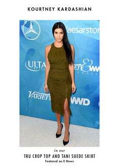 Always love our girl Kourtney Kardashian killing it in this two piece suede outfit!