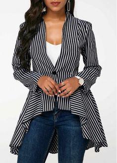 Black And White Striped One Button Blazer Asymmetric Hem Vertical Stripe Print Blazer - Women Blazer Jackets - Ideas of Women Blazer Jackets Trendy Clothes For Women, Suits For Women, Sexy Women, Casual Outfits, Fashion Outfits, Womens Fashion, Fashion Coat, Blazer Fashion, Casual Blazer