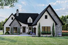 French Country Exterior, French Country House Plans, Modern Farmhouse Plans, European House Plans, Country Houses, French Style House, Country Home Plans, European Plan, European Style Homes