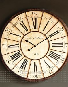 We love this wall clock and it would make an excellent centerpiece for a rugged, american country theme decor. This has an exceptionally high build quality and will be sure to turn heads. Imagine an old rustic hotel with a giant clock hanging from decades ago; well now you can have this presence in your own grand room. It features large roman numerals and traditional minutes. This is a must have for capturing the essence of the old west. This clock has spawned lots of great ideas for us!