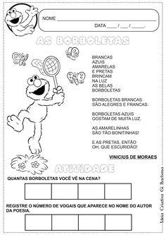Atividade Poesia Borboletas  Vinicius de Moraes com Elmo da Vila Sésamo