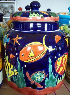 Talavera Mexican pottery water crock w/ spigot lead free + Venice Italy CD