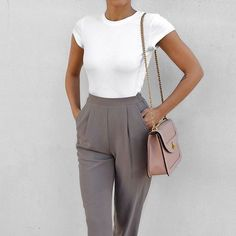 5b5fc3b17972 STITCH FIX STYLIST: Looks so simple yet so classy and elegant- high-waisted  pants, form-fitting blouse, and adorable bag. I think the purse pulls it  all ...