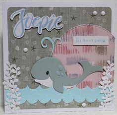 Gemaakt door Joke # Kinderkaart met walvis, voor Hilde