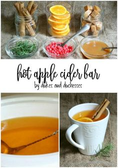 easy hot apple cider bar for fall parties