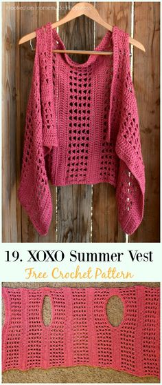 XOXO Summer Crochet Vest Crochet Free Pattern – Women Free Patt… – Women Shoes bags and Accessory Cardigan Au Crochet, Black Crochet Dress, Crochet Jacket, Crochet Cardigan, Crochet Shawl, Crochet Vests, Cardigan Sweaters, Pull Crochet, Mode Crochet