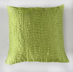 lime green pillow cover 16 inch- pleated silk  - IN STOCK