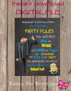 Minions Party Welcome Chalkboard Sign Size by EmmaSueBowtique