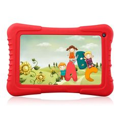 Dragon Touch M7 7-Inch Quad Core Android 4.4 Dual Camera 8 GB Kids Tablet Pre-Installed Red Silicone Case