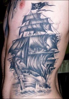 Pirate Ship Tattoo Sleeve | an actual pirate is not portrayed directly pirate tattoo pictures