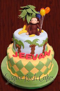 go bananas? i love this cake for mariapalito curious monkey party! Curious George Cakes, Curious George Party, Curious George Birthday, Second Birthday Cakes, Monkey Birthday, Birthday Fun, Birthday Ideas, Pretty Cakes, Beautiful Cakes