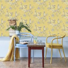 Yellow in décor is happy and chic! Yellow wallpaper dresses your home in sunny hues of optimism, providing an unexpectedly stylish compliment to white, neutrals, wood, and other colors. Sunny D, Under The Tuscan Sun, Optimism, Interior Styling, Wall Decor, Wallpaper, Yellow, Stylish, Chic