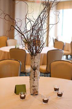 Curly willow branch and birch centerpiece. Willow Branch Centerpiece, Birch Centerpieces, Wedding Centerpieces, Wedding Decorations, Birch Branches, Willow Branches, Curly Willow, Recent Events, Wedding Arrangements