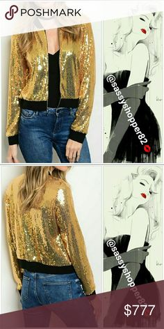 Gold sequin bomber jacket COMING THIS WEEK! LIKE THIS LISTING TO BE NOTIFIED!  Grab this Gold sequin bomber jacket, this is the IT jacket for this season. This jacket is covered in gold sequins with black trim details. Perfect to pair with all your holiday outfits!!! A absolute MUST HAVE!!  ***AVAILABLE IN SILVER ALSO*** Jackets & Coats