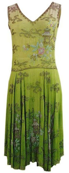 1920's ~ green dress with Orient Pagodas Embroidery