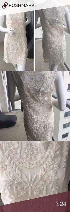 Beautiful and Feminine Cream Lace Dress!!! This is a beautiful dress with an intricate design! Express describes the printed material as lace. The base seems like a mesh material. It is sheer, but has a cream slip attached underneath. Express Dresses