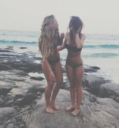 The perfect pair of bffs at the beach, love it