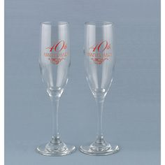 Engraved anniversary toasting flute set with ruby red text Mom Dad Anniversary, Ruby Wedding Anniversary, Anniversary Parties, Anniversary Ideas, Toasting Flutes, Wedding Supplies, Wedding Accessories, Ruby Red, Event Planning