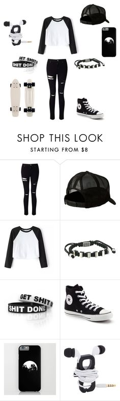 """""""Black and White"""" by darksoul7 on Polyvore featuring Miss Selfridge, Quiksilver, King Baby Studio and Converse"""