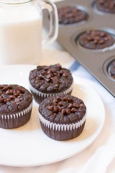 Skinny Double Chocolate Chip Muffins - at 67 calories a pop, these muffins are a perfect indulgent yet low fat breakfast or snack that will surely satisfy your chocolate craving