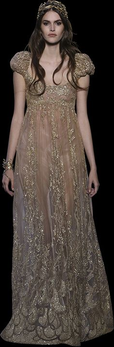 Gold embroidered tulle and lace gown with a double-layered skirt, a deep V-neckline and an opening at the back.