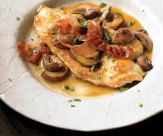 Chicken Marsala  You don't have to eat out to get quality chicken marsala. This dish only takes 25 minutes to make but will impress your dinner guests—if you chose to share it with anyone! One serving contains almost 37 grams of protein to repair your muscles and keep you full until breakfast.