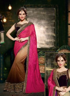 Be the sunshine of everyone's eyes dressed in this pretty pink net and silk designer saree. Beautified with embroidered and patch border work all synchronized properly with all the trend and style o...