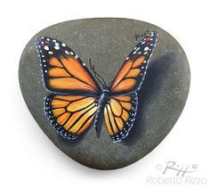 Original Hand Painted Monarch Butterfly Resting on A Rock | Unique Painted Rock…