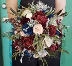 Burgundy, Blush, Navy Sola Wood Flower Fall Bouquet, Wildflower Bouquet, Wooden Flower Bouquet by MyDinosaurDreams on Etsy Navy And Burgundy Wedding, Navy Wedding Flowers, Wedding Flower Arrangements, Flower Bouquet Wedding, Wedding Colors, Navy Flowers, Bouquet Flowers, Wedding Navy, Wedding Centerpieces
