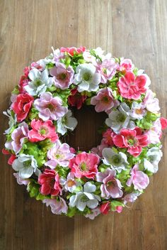 Spring wreath, hydrangea for the green