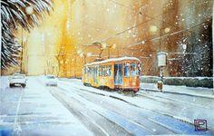 """"""" tram nella notte """" N.D.acquerello di Lorenza Pasquali 30x45  www.lorenzapasquali.it"""