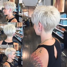 "[ ""If only I could pull this off!WEBSTA @ nothingbutpixies - A full 360 of pixie cut."", ""Can I have a similar cut in the back to truly exaggerate my front A-line length? -- WEBSTA @ nothingbutpixies - A full 360 of pixie cut. Hair Dos, My Hair, Cheveux Courts Funky, Short Pixie Haircuts, A Line Haircut Short, Pixie Cut Back, White Pixie Cut, Pixie Cut With Long Bangs, Pixie Cut With Undercut"
