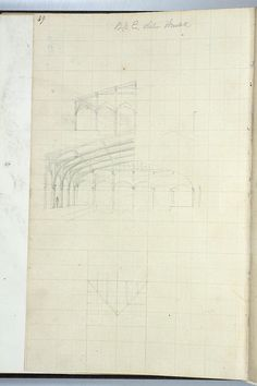 Attractive sketch by isambard Kingdom Brunel showing the arches of the canopy at Bristol Railway Station with person, and view of roof panes from above. Can also be described as hammerbeam roof for Bristol and Exeter Railway terminus at Bristol.