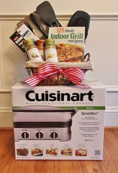 Indoor Grilling Silent Auction Basket by amparo Fundraiser Baskets, Raffle Baskets, Chinese Auction, Theme Baskets, Silent Auction Baskets, Stag And Doe, Christmas Baskets, Christmas Gifts, Country Christmas