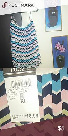 Top Sweet Summer Spaghetti Strap multi colored pleated top   NWT Rue 21 Tops Crop Tops