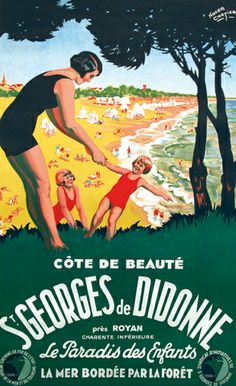 Saint-Georges-de-Didonne Illustrations Vintage, Cartier, Ville France, Railway Posters, Old Maps, All Poster, Vintage Travel Posters, Friends In Love, Vintage Advertisements