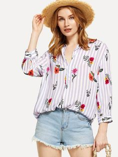 e7b728b77f4 Flower And Stripe Print Curved Hem Shirt | MakeMeChic.COM. Blouse OnlineLong  A LineFashion OutfitsWomens FashionBlousesRuffle BlouseEmbroideryPretty Sleeves