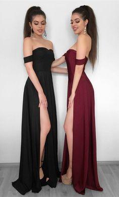 simple burgundy prom dresses with split, modest black off the shoulder party dresses, cheap formal dresses