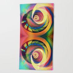 Spinning rainbow Beach Towel by Thea Walstra | Society6