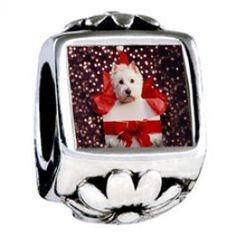 Puppy Christmas Gift Photo Flower Charms  Fit pandora,trollbeads,chamilia,biagi,soufeel and any customized bracelet/necklaces. #Jewelry #Fashion #Silver# handcraft #DIY #Accessory
