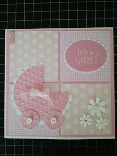 Baby Shower Cards for Girls Unique Baby Girl Card … Baby Cards Baby Girl Cards, Diy Cards Baby, Baby Shower Cards Handmade, New Baby Cards, Cards Diy, Cricut Cards, Congratulations Card, Creative Cards, Kids Cards
