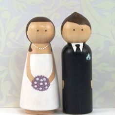 Custom Wooden Peg Doll Cake Toppers  Hand Painted by parsleypeople, $95.00