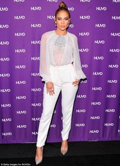 Vision in white: Jennifer attended the upfronts for NuvoTV of which she serves as Chief Creative Officer