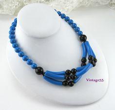 Necklace Blue Black Beaded