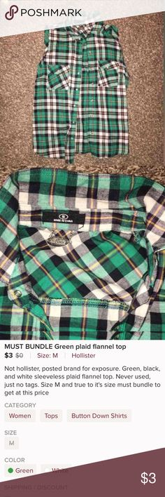 green plaid flannel top 4 items for $10 Green plaid flannel top not hollister posted brand for exposure Can bundle with 3 more items for $10 deal Hollister Tops Button Down Shirts