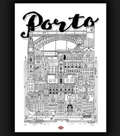 Print of an illustration ink handmade Printed on Rives paper size: 21 x… Maps Design, Porto City, Travel Illustration, A4 Size, Drawing Challenge, Travel Posters, Designs To Draw, Postcards, Cartoons