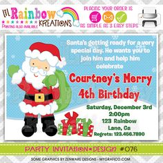076 DIY Santa Clause Party Invitation Or Thank by LilRbwKreations